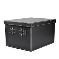 家居生活用品韩版皮质收纳箱大码储物箱创意特大号有盖杂物整理盒