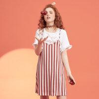 【1件2折到手价:44】美特斯邦威夏新款竖条纹两件套连衣裙女chic可爱荷叶边裙子