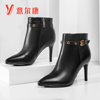意尔康女鞋时尚女靴优雅气质高跟女踝靴