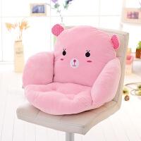 卡通方形全包椅子坐垫靠垫一体办公室加厚护腰靠学生餐椅垫屁股垫 粉红色 粉小兔--饺子形状