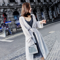 新款韩版中长款薄款开衫针织衫女秋装长袖纯色百搭时尚气质外套潮