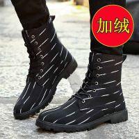 冬季潮流韩版皮靴高帮男士加绒保暖棉鞋雪地靴短靴男靴马丁靴srr M(加绒)