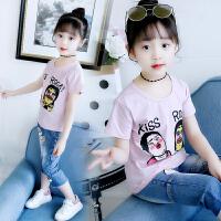 女童夏季牛仔套装中大童洋气短袖t恤休闲裤