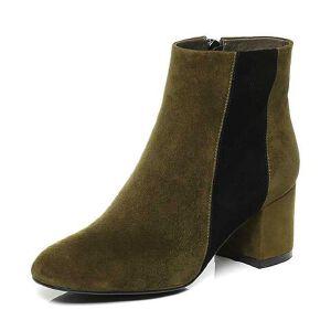 Belle/百丽2017冬时尚撞色羊绒皮革女皮靴81211DD7