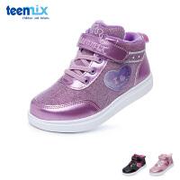 百丽天美意teenmix童鞋17冬季儿童运动鞋高帮加绒女童休闲鞋 (5-10岁可选) DX0292