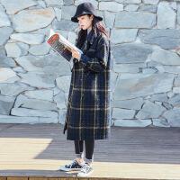 森系毛呢大衣女格子2018秋冬新款韩版宽松加厚中长款呢子外套学生 图片色