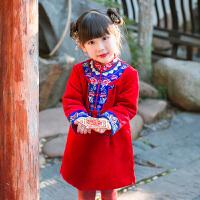 儿童旗袍连衣裙冬女童唐装拜年服女孩汉服过年喜庆宝宝装礼服 秀禾