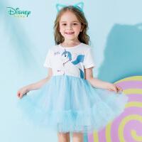 迪士尼Disney童装 女童白马印花连衣裙夏季新品女孩拼接网纱裙舒适裙子192Q687