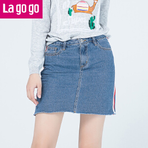 Lagogo拉谷谷2017秋冬季新款撞色织带高腰显瘦牛仔半身裙女短裙