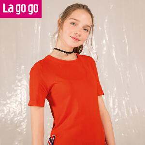 Lagogo/拉谷谷2018年夏季新款时尚圆领织带短袖针织衫HAMM233Y19