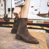 2018秋冬新款瘦瘦靴短靴女粗跟中跟百搭及踝靴chic马丁靴矮靴半靴