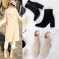 2018秋冬新款高跟短靴女粗跟方头裸靴马丁靴子春秋单靴踝袜靴女鞋