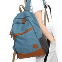 男女双肩包初中学生书包2019新款帆布休闲旅行背包电脑包