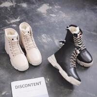 冬鞋女单鞋加绒新款保暖鞋休闲女冬鞋平底单鞋运动跑步女鞋防滑百搭秀气 TBP