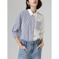 【开学季,满减价:126.9元】初语衬衫女设计感秋季新款休闲不对称条纹撞色拼接长袖上衣