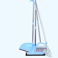 扫把簸箕套装组合家用扫帚扫地笤帚软毛撮子学生宿舍单个扫头发刮水器 天蓝色(扫把+簸箕+魔法扫把+地刷)