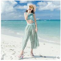 钢托小胸聚拢显瘦性感bikini温泉游泳衣分体韩版比基尼三件套