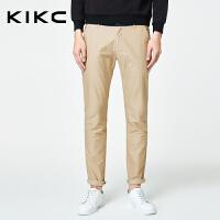 kikc休闲裤男2018秋季新款青少年韩版潮流纯色小脚裤微弹长裤子男