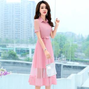 卡洛莱2018夏季新款韩版时尚中长款翻领衬衫式连衣裙A字裙女装潮