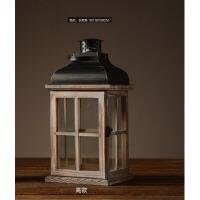 欧式复古木质风灯烛台摆件家居装饰品客厅餐桌落地蜡烛台摆设