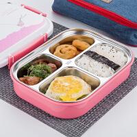 304不锈钢学生饭盒便当盒儿童餐盒分隔分格餐盘3格4