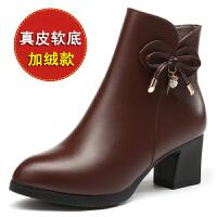 秋冬季中年女鞋真皮粗跟短靴中老年女靴中跟加绒女士皮鞋妈妈棉鞋SN7716 棕色(加绒款) 5951