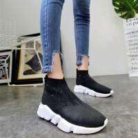 18春季新款针织毛线水钻厚底松糕坡跟及踝靴短靴马丁靴机车靴女鞋