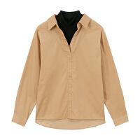 【2件1.5折价:32.9,可叠券】美特斯邦威女简约假两件灯芯绒衬衫