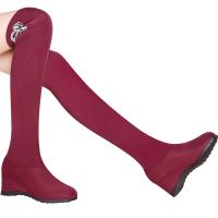 2017新款粗跟长靴高筒女靴子秋冬高中筒靴 女鞋冬款短靴女鞋中筒靴 粗跟中长靴 8554