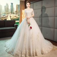 主轻婚纱礼服2018新款新娘一字肩出门纱拖尾公主梦幻超仙森系