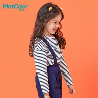 【2件2折】拉巴拉旗下MarColor马卡乐2019春新品女童条纹卡通刺绣长袖T恤