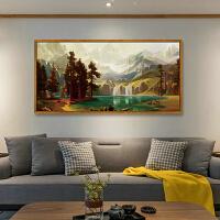 沙发后背景墙聚宝盆风水寓意招财客厅装饰画墙壁山水现代简约挂画 160*80 复古金边框 单幅成品