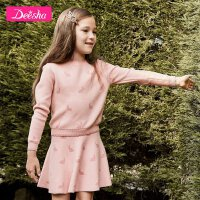 【2折价:99】笛莎童装女童套装2019秋季新款中大童儿童小女孩纯棉长袖针织套装