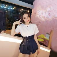 夏季韩版时尚修身显瘦圆领纯色拼接系带收腰裙摆T恤衫女短袖上衣 均码