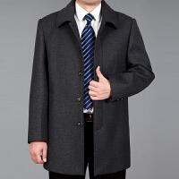 秋冬爸爸装夹克中老年男士羊毛呢大衣中年男装翻领加大码中长外套