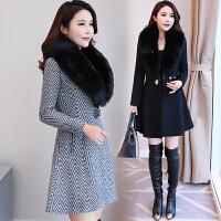 大毛领毛呢大衣女中长款秋冬季女装2018新款韩版修身显瘦呢子外套