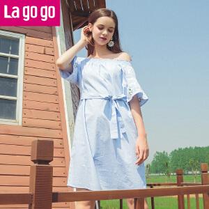 Lagogo2018夏季新款绣花荷叶边一字肩连衣裙女露锁骨A字短裙HALL323C26