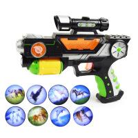 ?儿童玩具枪声光电动投影音乐男小孩玩具投影发光2-3-4-5-6岁 官方标配+3节5号电池