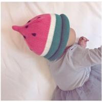韩国秋冬儿童帽女宝宝毛线帽子男童1-2岁婴儿针织帽冬天潮套头帽yly 红色 【西瓜毛线帽】 均码
