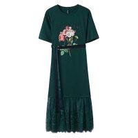 【1件2折到手价:59.8】美特斯邦威连衣裙女宽松文艺复古大印花蕾丝温柔长T恤裙夏装新款