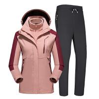 户外冲锋衣男三合一两件套可拆卸登山服女衣裤套装
