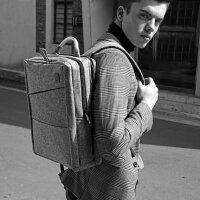 cai法国简约双肩包时尚书包男士商务多功能通勤背包15.6寸电脑包
