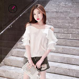 欧若珂  2018夏季韩版一字肩上衣学生女一字领短袖雪纺衫女