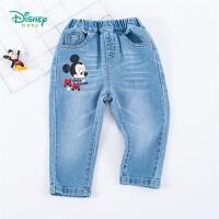 【2件3折到手价:67.5】迪士尼Disney童装 儿童潮酷牛仔裤男童薄款长裤时尚百搭年春季新品迪斯尼宝宝裤子
