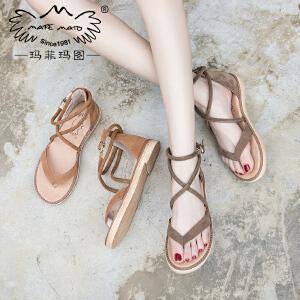 玛菲玛图新款凉鞋女平底夹趾仙女的鞋复古夏女士一字扣休闲凉鞋女M198180882T12