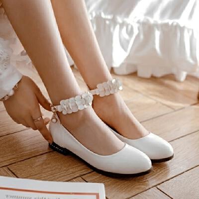 女童皮鞋春新款中大童花朵公主单鞋学生表演舞蹈平底鞋