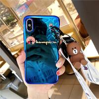 苹果x手机壳iphone7/8plus公仔支架挂绳6s蓝光全包软壳6P情侣小熊 苹果x 熊公仔挂绳 5.8寸