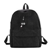 原宿森系简约BW双肩包女潮灯芯绒电脑背包学院学生纯色休闲书包