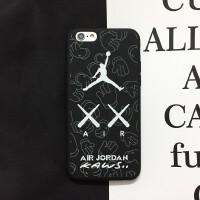 ins飞人乔丹篮球iphone8手机壳7plus苹果X全包软壳6s情侣夜光 小6/6s 白色kawsAJ