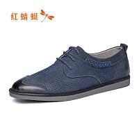 红蜻蜓春夏新款时尚休闲镂空皮鞋舒适系带男士单鞋低帮鞋